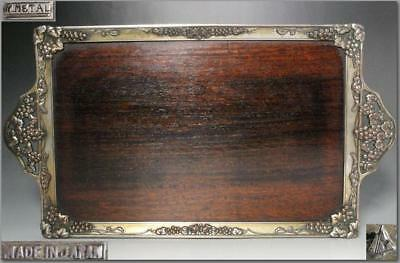 WT11 Japanese old wooden & grape shape metal decoration rectangle tray # meiji