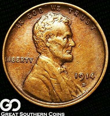 1914-D Lincoln Cent Wheat Penny, Highly Desired Choice AU+ Key Date ** Free S/H!