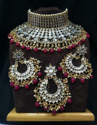 323e3a090084e BOLLYWOOD INDIAN TRADITIONAL Red Pearl Kundan Bridal Choker Necklace  Jewelry Set