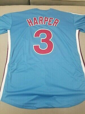 huge discount 75c46 44e2b PHILADELPHIA PHILLIES #3 Bryce Harper Retro Baby Blue Jersey Size Large