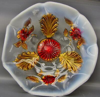 Northwood BLOSSOMS & PALMS White Opalescent Goofus Decorated Ruffled Bowl 6489