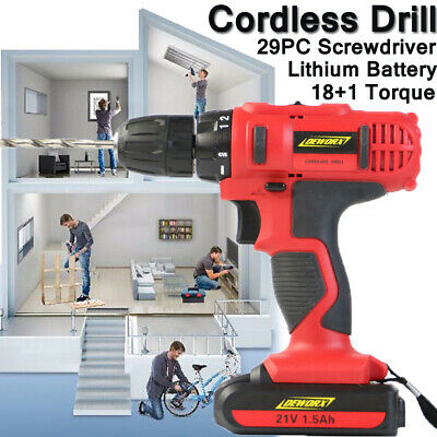 21V Cordless Drill Driver Electric 29PC Lithium Ion 2 Speed Heavy Duty IN Case