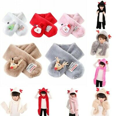 UK Baby Boys Girls Winter Christmas Warm Hooded Gloves Kids Warmer Scarf Shawls
