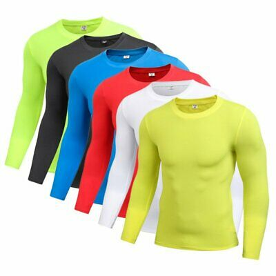 Mens Quick-Dry Compression Base Layer Top Thermal Under Skin T-Shirt Gear Tee UK
