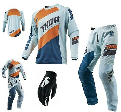 Thor Sector Shear Combo Shear blau orange Crosshose Motocross Shirt Enduro MX Ha