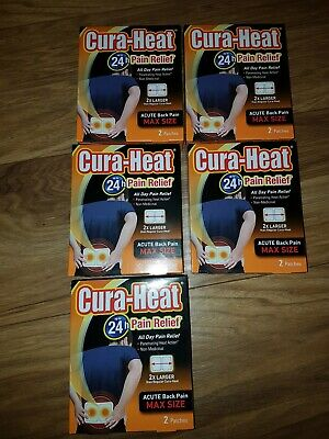 Cura Heat 24 hour pain relief acute Back pain pack of 2 patches 5x box