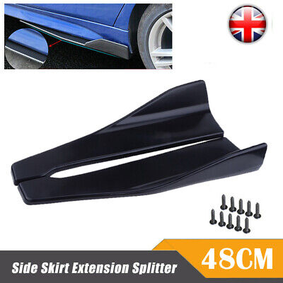 2x 35cm Car Side Skirt Rocker Splitters Lip Wing Bumper Rear Universal Black UK