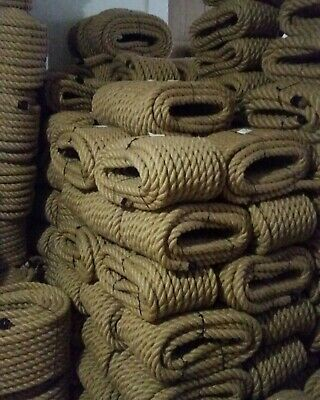 20mm Thick Natural Jute Hessian Rope Twisted Cord Decking Garden Boat Camping