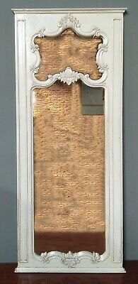 Solid Mahogany Large French Style Chateau Antique White Carved Large Tall Mirror