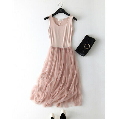 Spaghetti Strap Patchwork Mesh Summer Women Gauze Lace Casual Party Dress CB