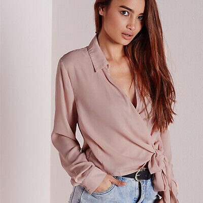 Women Long Sleeve Loose Fit Cross Wrap Over Ladies Plunge V Neck Top CB