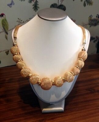 Collier In Oro 14 Kt Tit 585 Demirouge, Boule' Degrade'. Vintage Anni '70