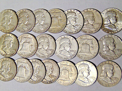 Lot of 20 Franklin Silver Half Dollars $10 Face Value 90% Silver Coins (1031)