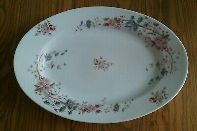 "HEAVY LARGE 11""x16"" ANTIQUE WHITE IRONSTONE CHINA PLATTER ~PINK & BLUE FLOWERS"