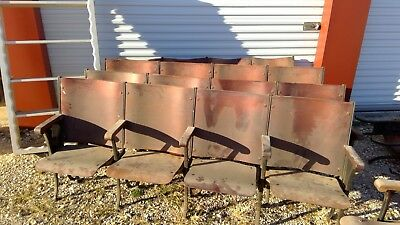 Antique 1924 Wood Theater Seats - set of 4