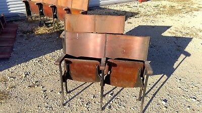 Antique 1924 Wood Theater Seats - set of 2
