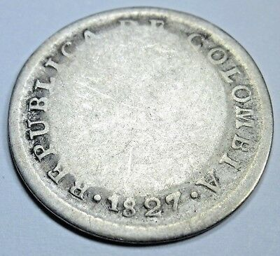 Republic Of Colombia 1827 Bogota Y Popayan Silver 1 Real Colombian Reales Coin