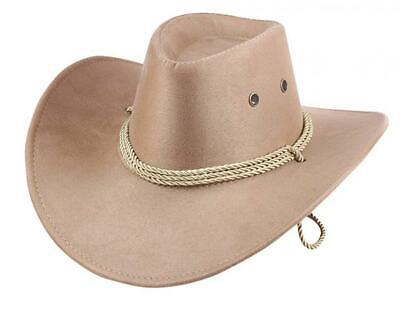 40fee8216da UwantC Western Cowboy Hat Men s Faux Felt Wide Brim Hat With Strap Beige  White