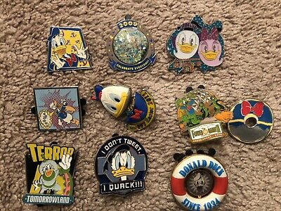 Donald Duck Disney Trading Pin Lot #4 Comes With Ten Pins.