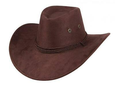 a6d5b5144fd85 UwantC Western Cowboy Hat Men Women s Faux Felt Wide Brim Hat With Strap  Coffee
