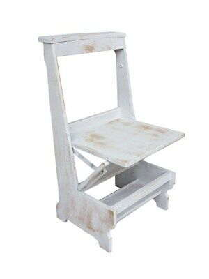 Solid Oak Arts & Crafts Distressed Painted Church Chairs - Seat