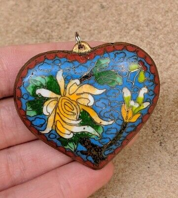 """Vintage Chinese Large Double-Sided Cloisonne Heart Pendant for Necklace 2"""" by 2"""""""