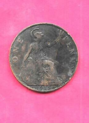 GREAT BRITAIN GB ENGLISH KM810 1919 FINE-NICE OLD ANTIQUE BRONZE PENNY COIN