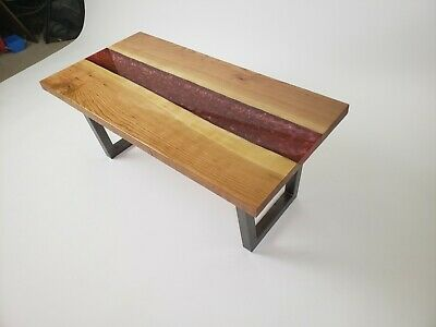 LIVE EDGE CHERRY fire river table with 3 color epoxy