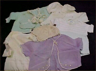 7 pc Vintage Baby Doll Clothes Sweaters Dress Shirt Bonnet Hat LOT 1950s Era