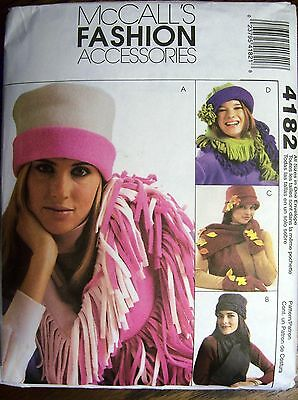 Fleece Hats, Scarves, Gloves & Mittens ~ McCall's Accessories  #4182  ~ New