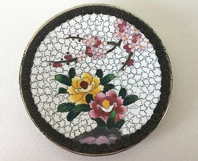 """Vintage Floral Japanese CLOISONNE DISH Tray 4 7/8"""" INABA Unsigned Chrysanthemums"""