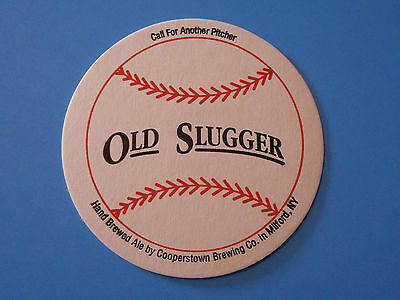 Cooperstown Milford NEW YORK OLD SLUGGER Beer COASTER MAT with BASEBALL DESIGN