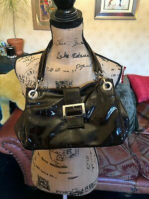 Dark Brown Faux Patent Leather Mock Croc Buckle Shoulder Bag Handbag