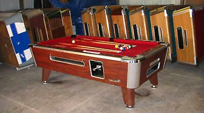Two Valley Cougar Commercial 7' Coin-Op Bar Size Pool Table Refurbished In Red