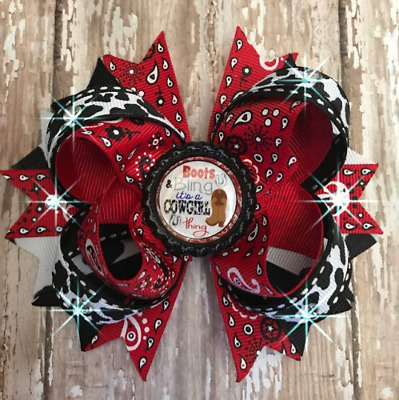 Cowgirl hair bow headband rodeo bandana bling red black bottle cap pageant