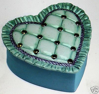 Ceramic Bisque Tufted Heart Box Duncan Mold 98C U-Paint Ready To Paint