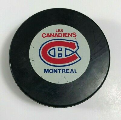 Vintage Montreal Canadiens NHL Official Game Puck Inglasco Souvenir Collectible