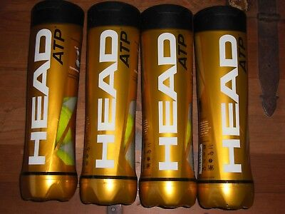 Head Atp Tennis Balls, 4 Tubes,16 Balls Total, Used Once, Very Good To New Cond