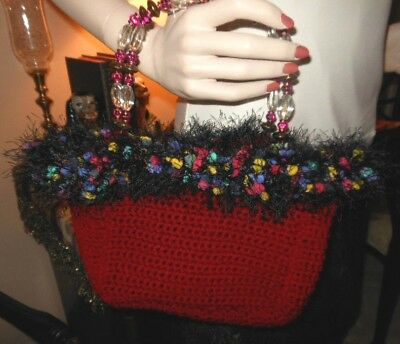OOAK Hand Made Original Handbag Purse Faux Feathers Costume Theatre Stage Prop