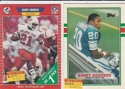 2 Card Rookie Rc Lot Barry Sanders 1989 Pro Set Topps