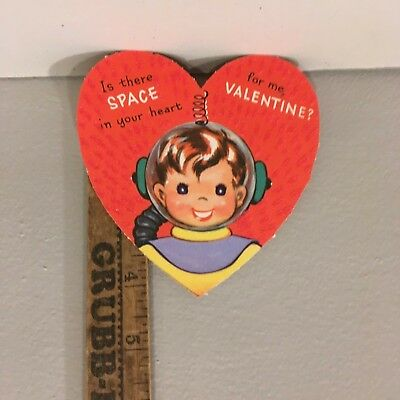 """Vtg Valentine Card Space Boy Astronaut Clear Helmet """"Is There Space In Heart"""""""