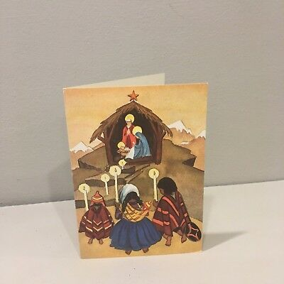Vintage Christmas Card 60's 70's Becky Hopson Kneeling Children Mexican Nativity