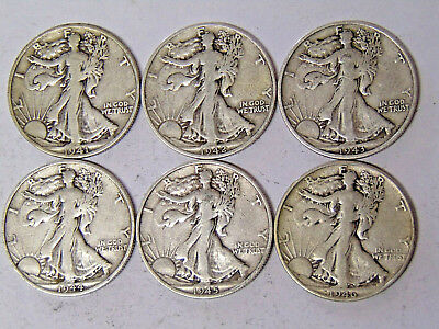 Lot of 6 Walking Liberty Half Dollars 1941-S 1942-S 1943-S 1944-S 1945-S 1946-S