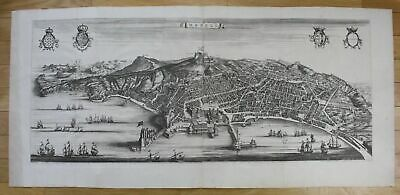 1724 - Napoli panorama veduta acquaforte Blaeu Mortier stampa map