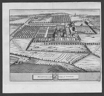1700 - Brightwell Suffolk Hall garden England United Kingdom engraving view