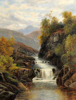 Nice Oil painting William Mellor - Landscape with a River cross the mountains