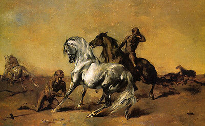Oil painting Fromentin Eugene French Desert Scene people with horses on canvas