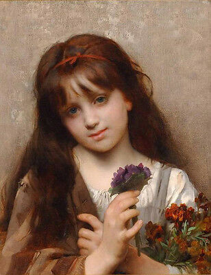 Perfect art Oil painting beautiful little girl with purple flowers handpainted