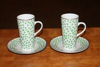 2 Irish Coffee Cups and Saucers - NEIMAN MARCUS - Shamrock by Fitz and Floyd