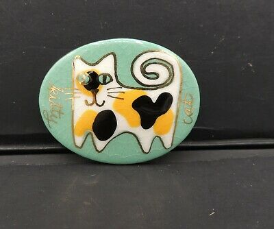 Vintage Enamel Kitty Cat Pin Brooch Calico Tortie Whimsical Design